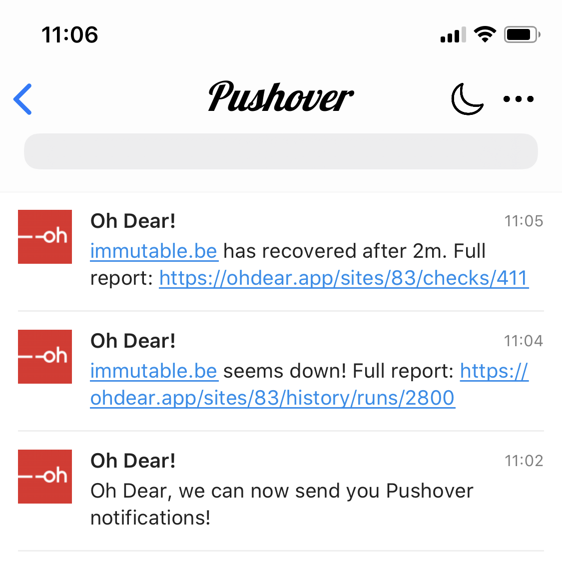 Screenshot of a Pushover notification