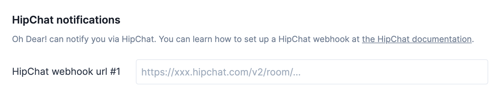 Oh Dear HipChat settings