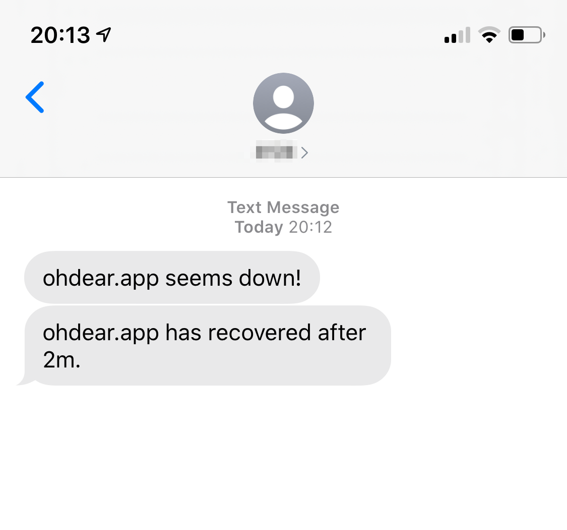 Screenshot of a SMS notification