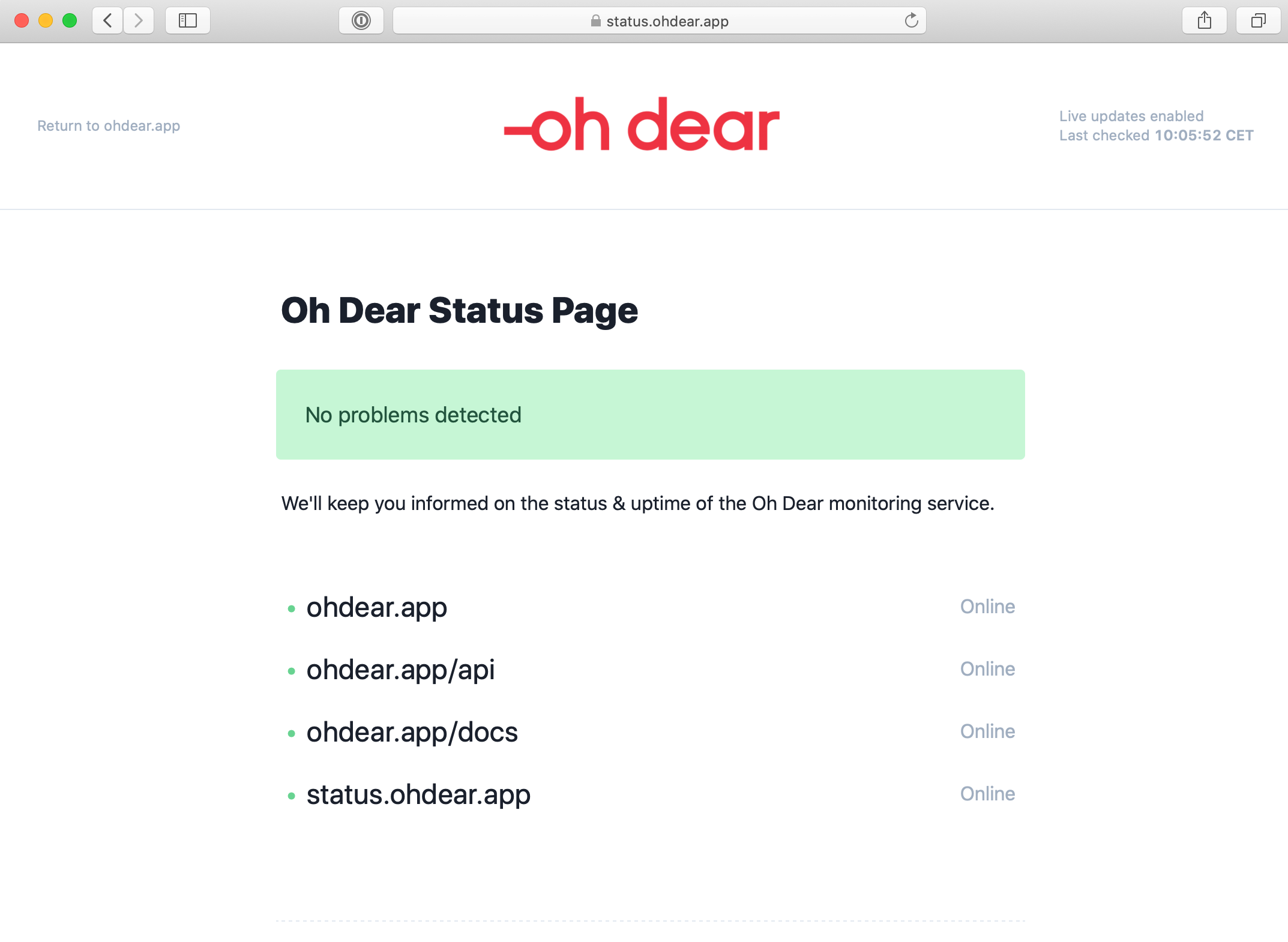 Screenshot of Oh Dear's status page